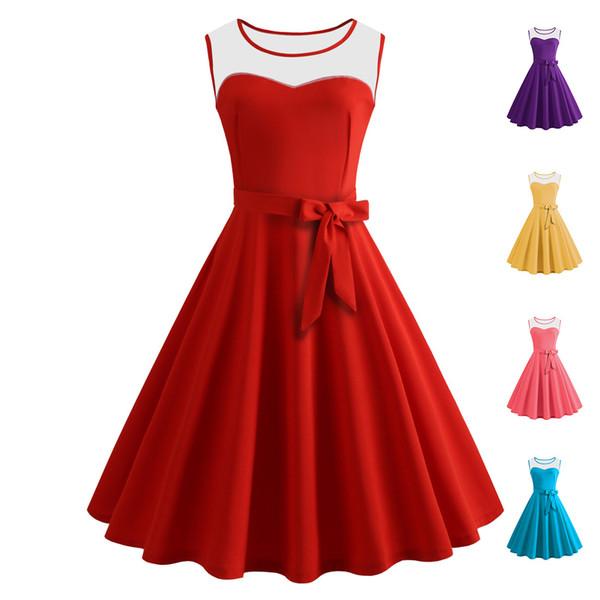 Compre Ropa De Mujer 2019 Moda De Verano Tallas Grandes Color Sólido Vestidos Casuales Rojos Para Mujer Con Paneles Sin Mangas Vestido Vintage Falda