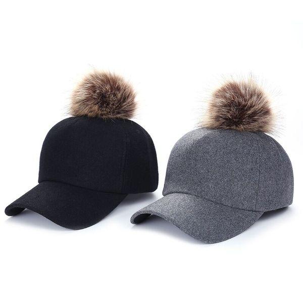 2018 versión coreana de la bola de lana femenina gorra de béisbol curvada color sólido moda tapa caliente JX552