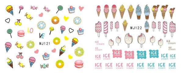 Each model need over 10pcs 100pcs/lot Free shipping MJ121-136 ice cream cartoon animal glasses watermark nail sticker