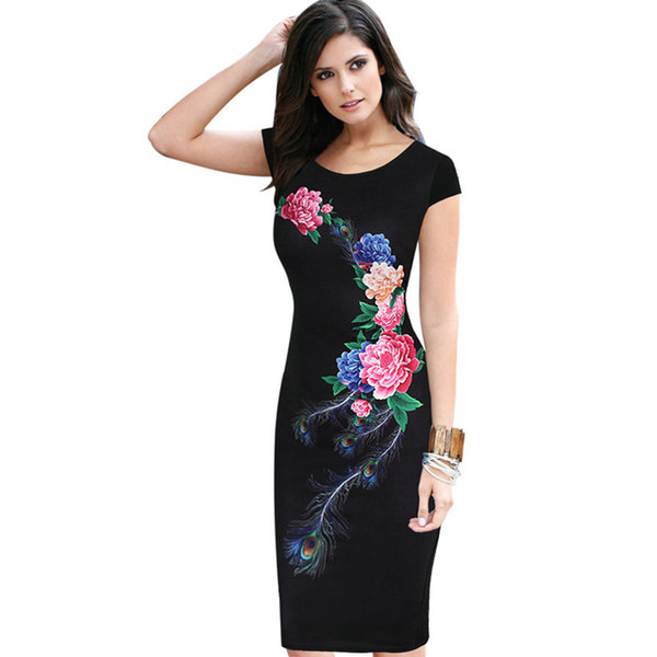 lcw Nice Womens Elegant Vintage Summer Floral Flower Peacock Printed Slim Pinup Casual Party Evening Sheath Bodycon Dress
