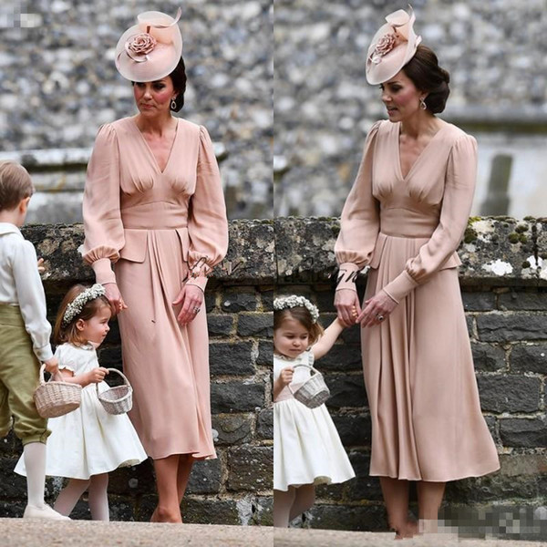 Kate Middleton Simple Chiffon Mother Of The Bride Dress Long Sleeves Tea Length Vintage Wedding Guest Dress V neck Dusty Pink Formal gown