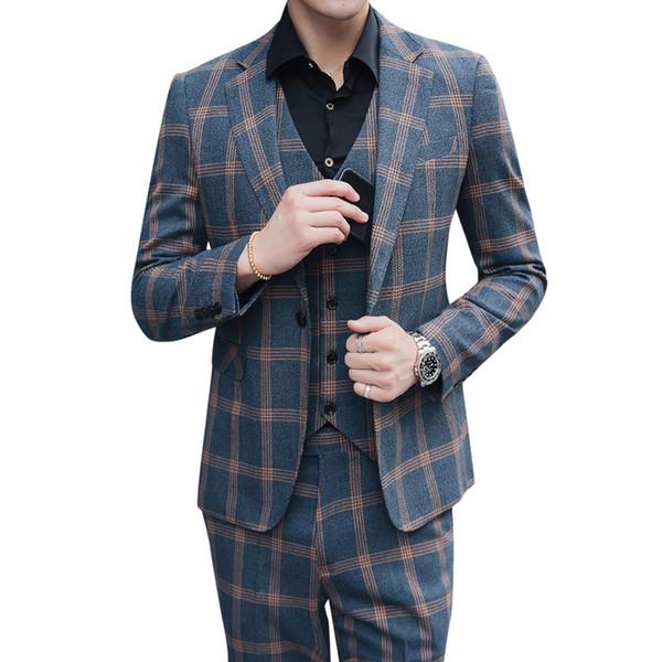 Chaqueta + Pantalones + Chaleco 3 piezas trajes figura terno masculino Cuadros Boda novio Prom formal traje de hombre Ropa Slim Male Tuxedo