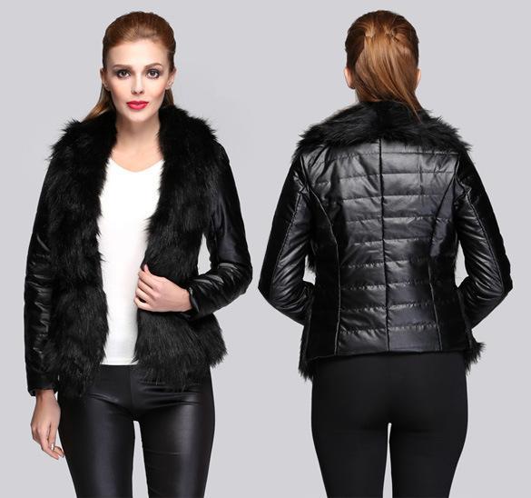 Женская новая мода PU кожаная куртка меховые куртки 2018 корейский тонкий зима черный большой меховой воротник кожаные пальто куртка cuero XXXL