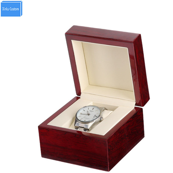 Retail/Wholesale Wood Clamshell Box Watch Lacquer Glossy Single Wooden Watch Box Custom Logo Promotion Event Size 11x11x8cm