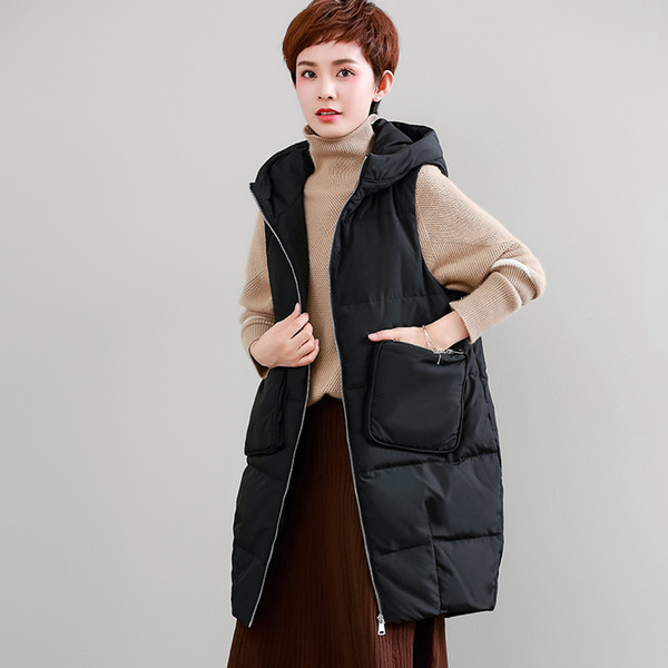 Thick Hooded Vest Women Plus Size Classical Designs Solid Pockets Sleeveless Coat 2 Colors Casual Vest New Fashion Style 2019