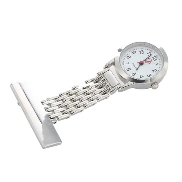 Silver Nurse Doctor Brooch Pocket Pendant Quartz Watch