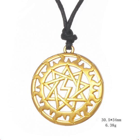Wiccan Giant Inglii Slavic Sun Talisman Perunitsa Ethnic Pendant Necklace Maxi Colar Amulet Viking Jewelry for Unisex