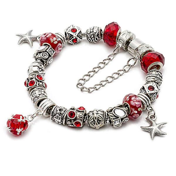"Tsunshine Silver Tone European Charm Bracelet 7.9"" Green Murano Glass Beads For DIY Jewelry Making"