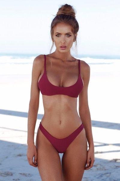 best selling 2020 Bikini Set Summer Solid color Swimwear Brazilian Bikini Women Beach Wear Bathing Suit Popular Female Swimsuit Hot Selling
