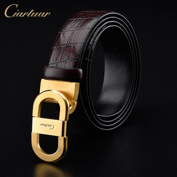Ciartuar men's genuine leather belt designer belts men high quality  belt for man smooth buckle solid brass buckle for men