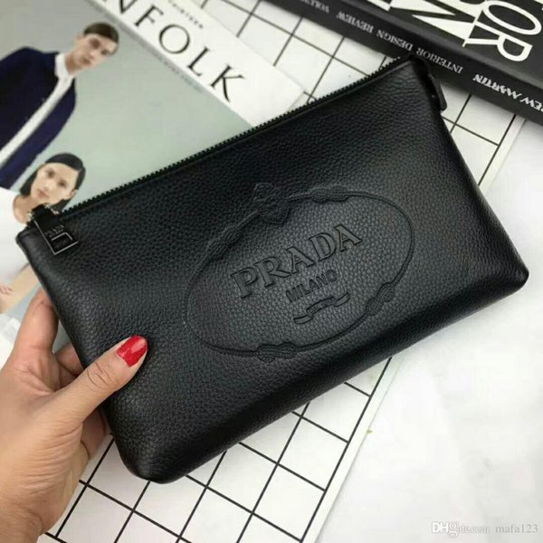 Wholesale black real leather purse clutch bag sfashion cosmetic bags genuine leather passport bag designer wallet Embossing