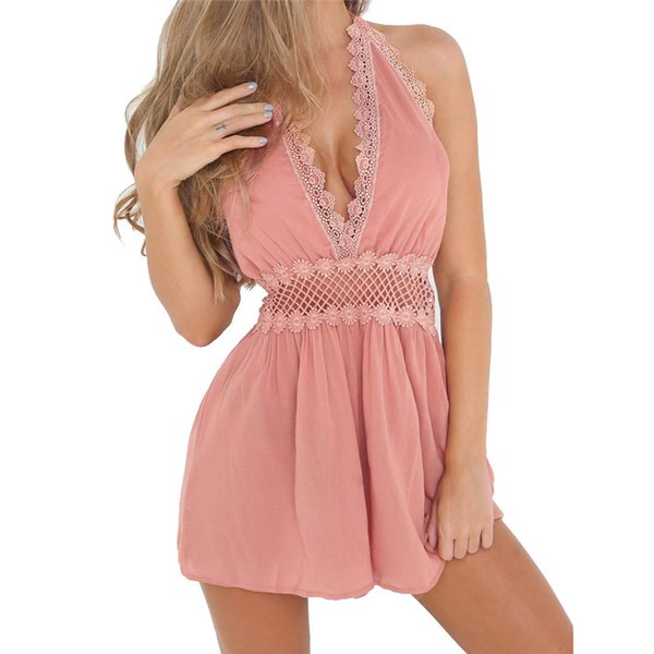 Summer Womens Sexy Lace Hollow Sleeveless Beach Jumpsuit Ladies Holiday Short Mini Party Romper overalls women playsuit P415