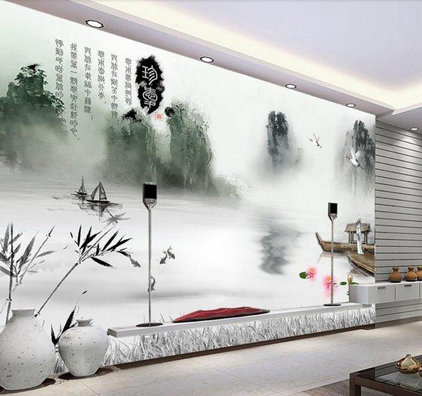 Пользовательские 3d обои для стен 3d фото обои фрески китайская живопись тушью китайская живопись ТВ фон стены пейзаж Обои Декор