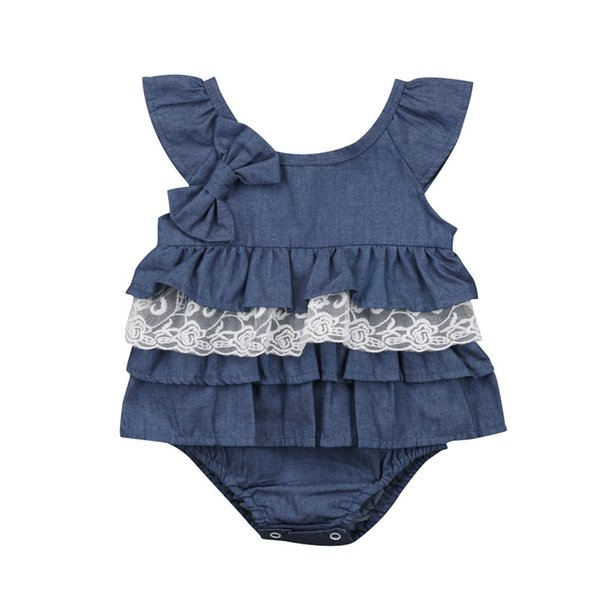 Summer Denim Lace Bowknot Bodysuit For Girls Fashion Newborn Baby Girl Ruffles Bodysuit Infant s Jumpsuit Tutu Baby Clothing
