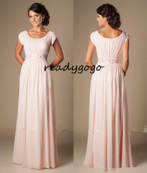 Blushing Pink Long Formal Full Length Modest Chiffon Beach Evening Bridesmaid Dresses With Cap Sleeves Beaded Ruched Temple Bridesmaids Dre