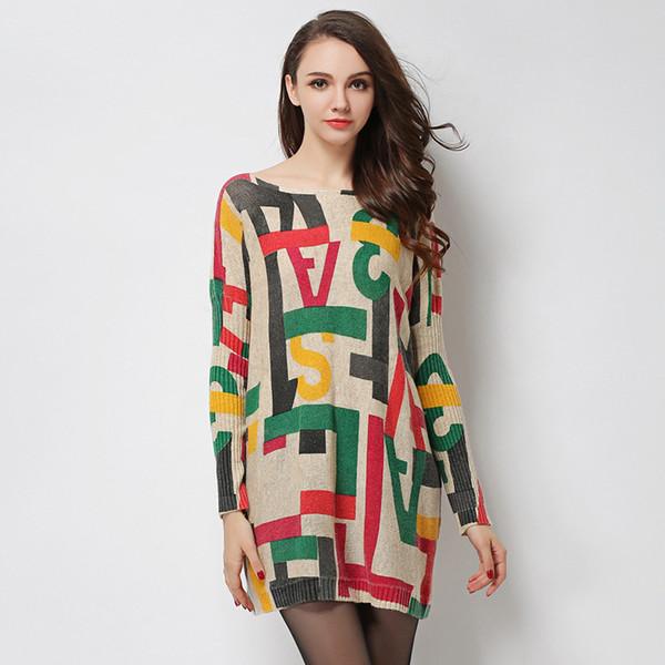 Women 'S Sweaters Fashion Batwing Sleeve Print Slash Neck Pullovers Computer Knitted Women Sweater K6115
