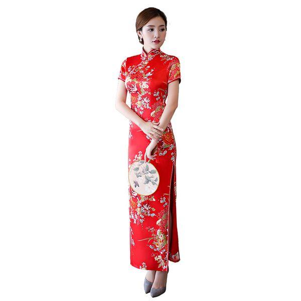 ROT Chinesische Frauen Braut Hochzeit Qipao Vintage Stehkragen Cheongsam Plus Size Floral Split Sexy Prom Party Kleid 3XL 4XL