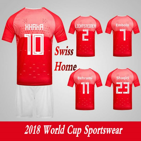 Men's Clothing Tracksuits Switzerland Swiss National Team Home Football Sport Suits 2018 World Cup Soccer Uniform Clothes Shorts