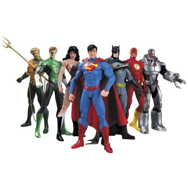 Hot NUOVO 7 pz / set 17 cm Justice League Super Hero Avengers Ant-Man Spider-man Superman Batman Action Figure giocattoli set di bambole Regali per bambini ALA531