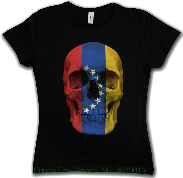 T-shirt da donna Tee Classic Venezuela Skull Flag T-shirt da ragazza Girlie - Biker Mc Banner camicia dipinta a colori