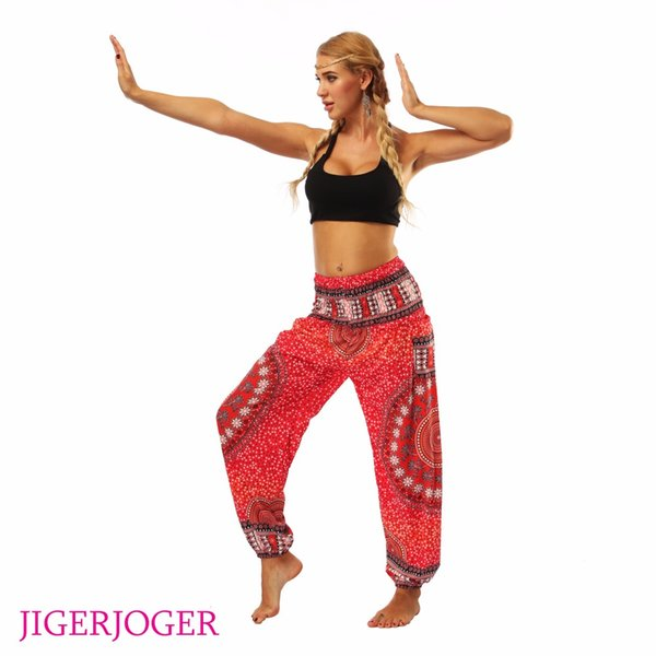 JIGERJOGER Red mandala circle galaxy floral Printed stretchy High rise Straight Loose leggings lounge Bloomers pocket yoga pants