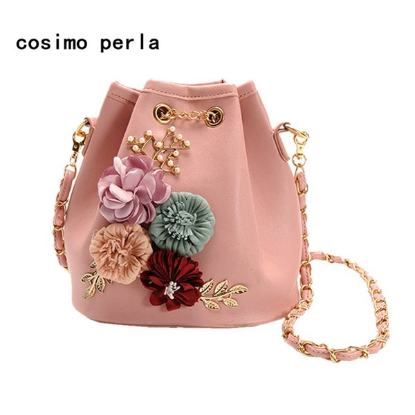 Korean Sweet Lady Flower Leather Bucket Bags Pink Handmade Beaded Floral Crossbody Purse Small Girls Fashion Shoulder Bag 2018