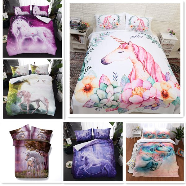 Fanaijia kids 3D Flowers unicorn Duvet Cover with pillow case Cartoon flower Bedding sets queen size Starry sky Bed Bedding