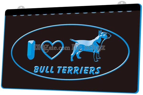[F1771] I-Love-Bull-Terrier Dog-Pet Shop NEW 3D Engraving LED Light Sign Customize on Demand 8 colors
