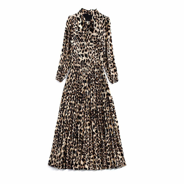 2018 Fall Autumn Long Sleeve Crew Neck Leopard Print With Ribbon Tie-Bow Pleat Long Maxi Dresses Luxury Runway Dress N02K102409