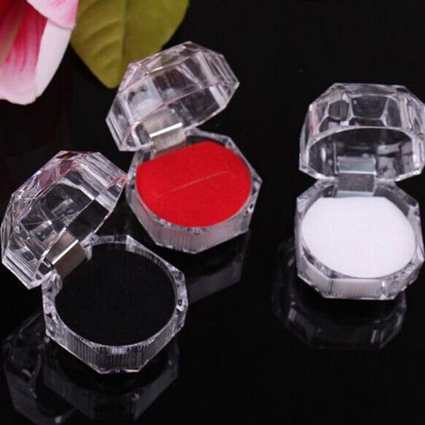 top popular Acrylic Crystal Clear Ring Box Transparent Black White Red Box Stud Earring Jewelry Case Gift Boxes Jewelry Packaging 2021