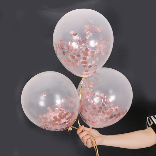 Латексный шар из розового золота с пайеткой 12 дюймов прозрачные воздушные шары с