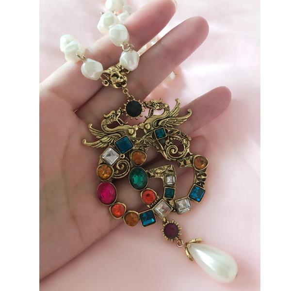 Retro Multicolor Kristall Luxus Halskette Perle Kette Buchstaben Marke Designer Anhänger Halskette Marke Schmuck Top Qualität