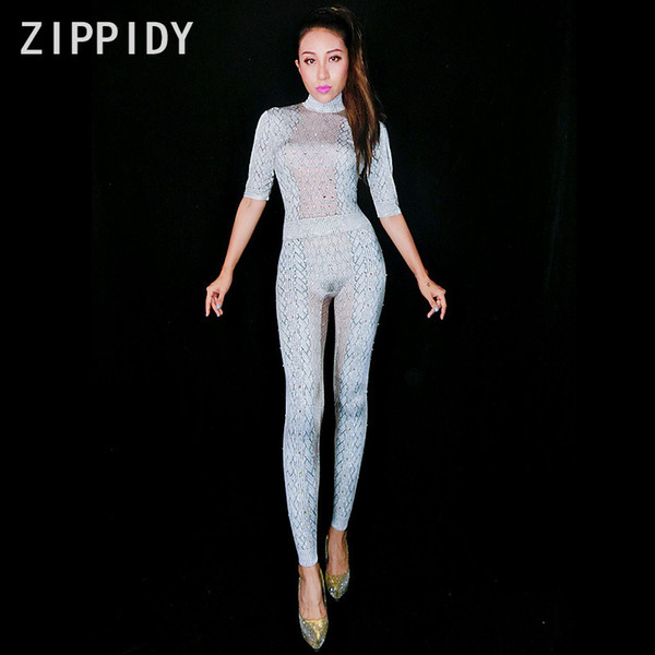 AB Rhinestones Printed White Jumpsuit Unique Half Sleeves Bodysuit Female Singer Show Stage Outfit Nightclub Party Dance Clothes