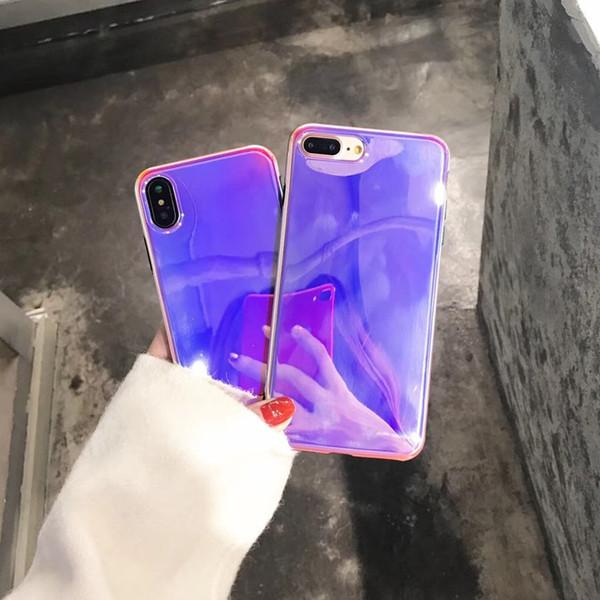 2018 Sıcak Satış Mor Lazer Telefon Kılıfı için iPhone X 8 7 6 Artı Moda Blu-Ray Ayna Cep Telefonu Yumuşak Kılıfları