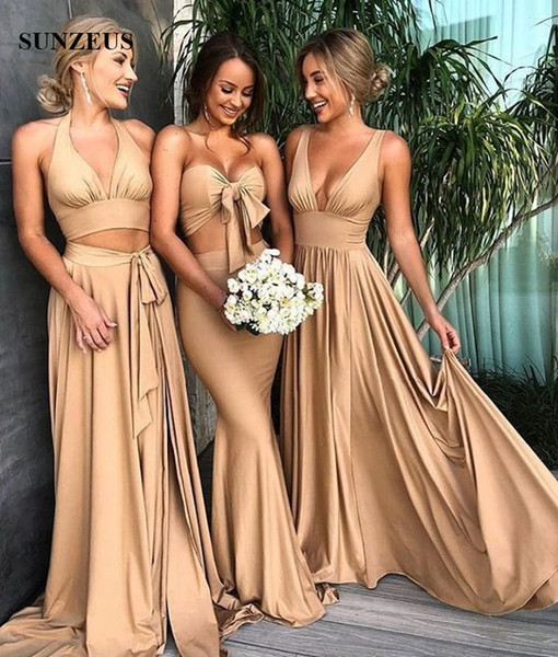 Elegant V-neck Champagne Bridesmaid Dresses 2018 Simple Long Jersey Wedding Party Gowns Sexy 3 Designs Available