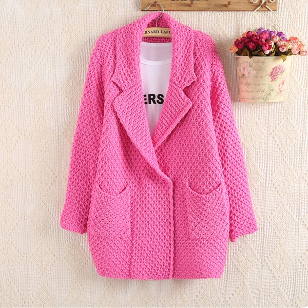 With thick sweater outside a long cardigan female 2018 autumn outfit han edition coarse hand-knitted sweater loose coat