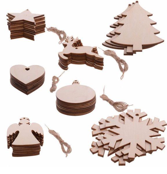 Hot 10 pcs/Lot Hot Christmas Tree Ornaments Wood Chip Snowman Tree Deer Socks Hanging Pendant Christmas Decoration Xmas Gift Crafts