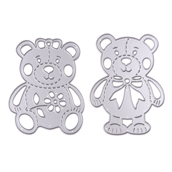 2pcs/set Lively Bear Designs Metal Cutting Dies Stencils for Scrapbooking Embossing Album Paper Card Craft