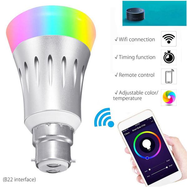 E27 B22 llevó bombillas de luces RGB LED WiFi APP remoto inteligente bombilla de la lámpara de iluminación de luz For Echo Alexa Por Página principal de Google