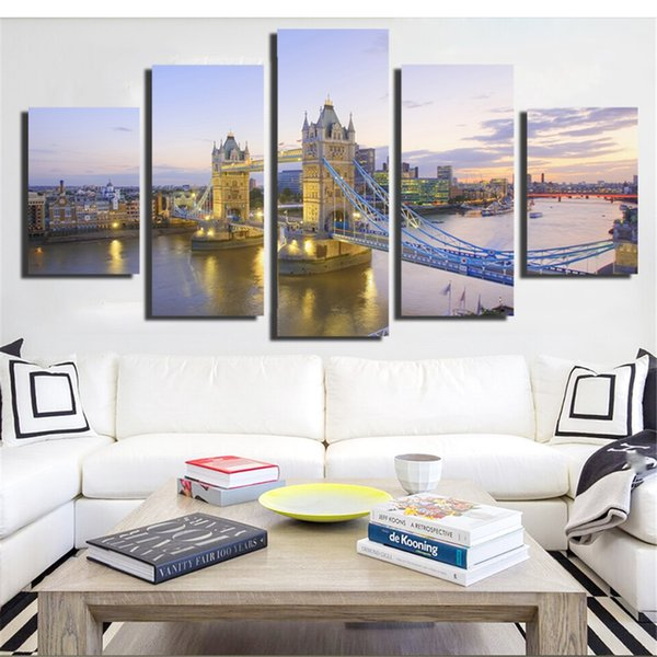 No Frame Mordern Building Canvas Painting Wall Art Nordic Decoration Modern Wall Pictures Home Decoration for Living Room 5Pcs