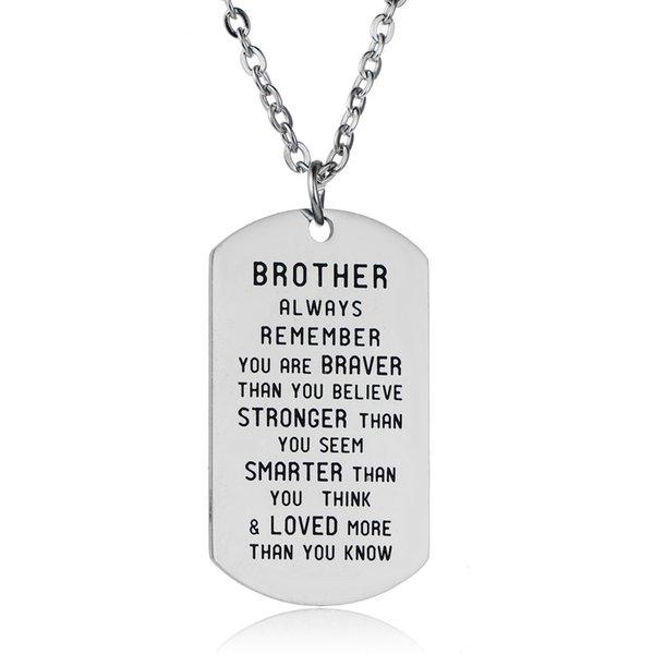 wholesale 10pcs/lot Brother necklace Always remember you're braver than you believe...than you know charm pendant necklace jewelry gift