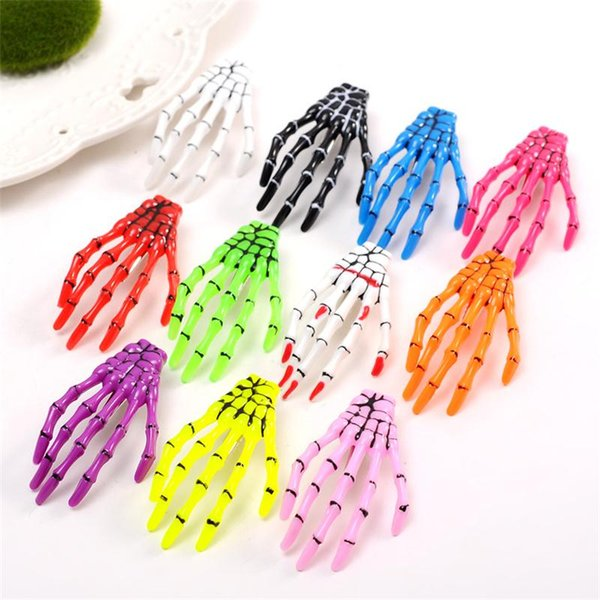 Skull hand hair pins Skeleton Hand Claw Hair Clip For Women Girl Halloween Party Barrettes Hair Accessories