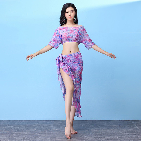 2018 New Women Belly Dance Clothing Training Outfits Girls Practice Costume Bellydance Top Skirt 2pcs Floral dress