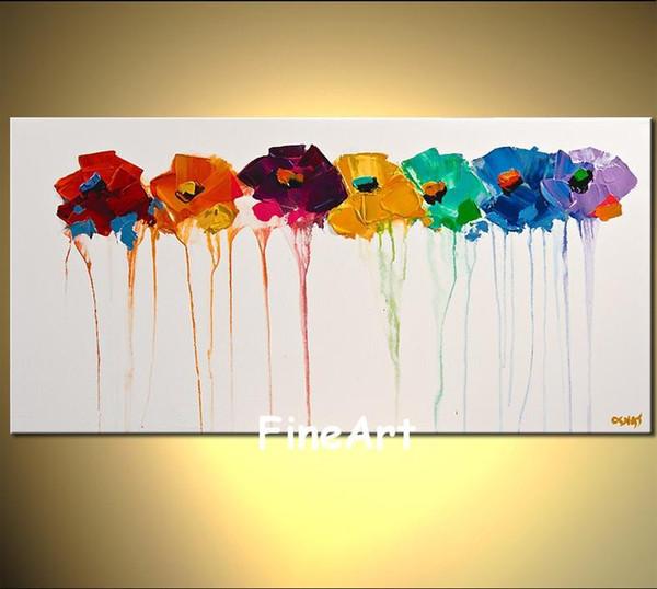 Pintados à mão flores abstratas pintura em pinturas acrílicas chão branco na lona pinturas art deco venda quarto sala de estar decoração