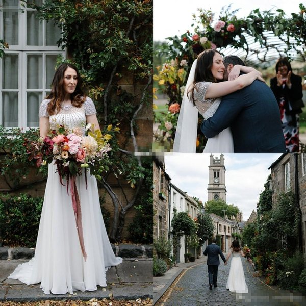 2018 Garden Wedding Dresses Shining Rhinestones Beaded See Though Back Zipper Back A Line Short Sleeve Fairytale Outdoor Bridal Gown