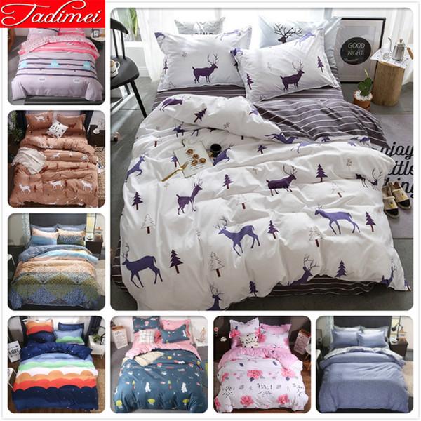 AB Side Quilt Comforter Pillow Duvet Cover 3/4 pcs Bedding Set Adult Soft Cotton Bed Linen Single Double Queen King Size 220x240