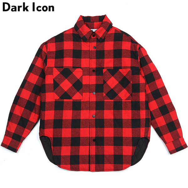 Curved Hem Plaid Cotton Padded Men's Jacket 2018 Winter Thick Jackets High Street Jackets for Men Streetwear Clothing Red Grey