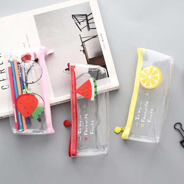 1 Pcs Cute Zakka Style Fruit Pencil Case Kawaii Transparent PVC School Pencil Bag Stationery Pouch Office Supplies