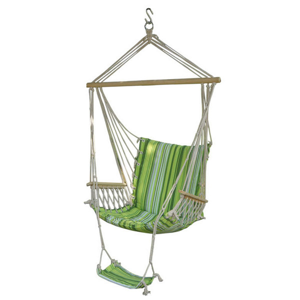 Outdoor Canvas Swing Hammock Leisure Hanging Chair Garden Patio Yard Max 330Lbs Hanging Rope Hammock Swing Chair with Footrest