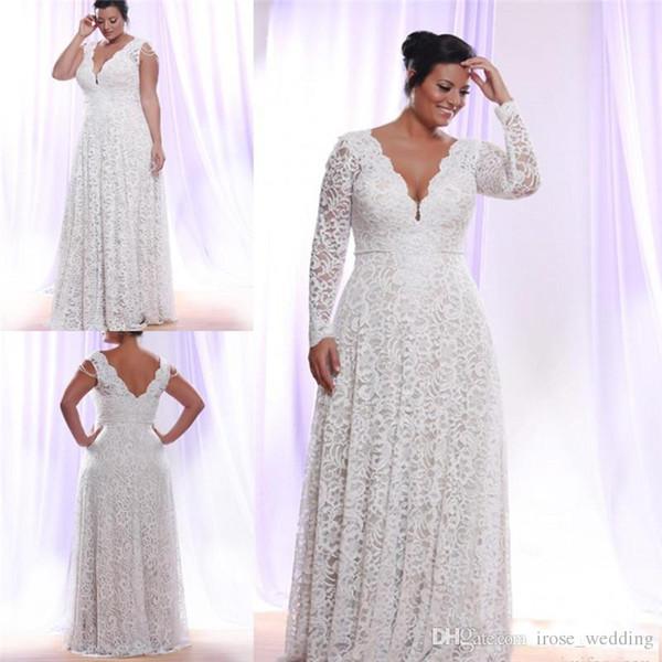 Elegant Plus Size Lace Wedding Dresses A-Line Double V Neck Illusion Long Sleeve Floor Length Full Lace Bridal Wedding Gowns Robe de Mariée